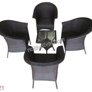 Bàn ghế mây nhựa TF 021