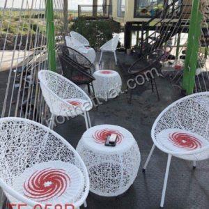 Bàn ghế giả mây cafe TF 058