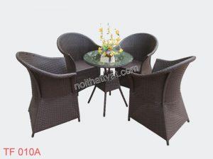 Thiết kế bàn ghế café giả mây ấn tượng