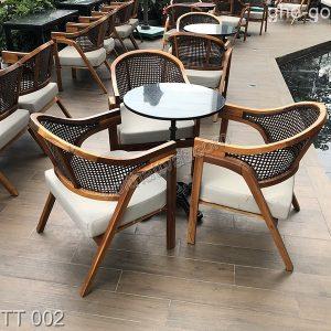 Ghế gỗ và mây nhựa TT 002